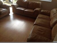 Peach leather 3 seater, 2 seater and chair set.