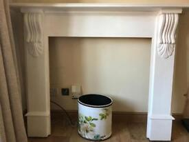 Solid wood fire surround in white