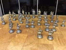 Miniature Metal Roman Chess Pieces ( Full Set