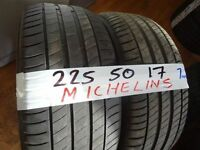 matching pair of 225 50 17 michelins 6mm tread £70 pair supp & fittd (LOADS MORE AV SUNDAY 5PM)