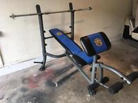 Multi weight bench with bars and weights