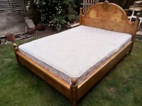 Heavy duty york bedding pine king size bedstead and heavy gauge mattress