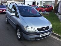 Vauxhall zafira 1.8 elagance 2001 facelift model 5 door 7 seat mpv people carrier mot February tax