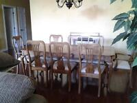Solid Oak Dining Room Set and Hutch