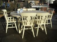 Shabby Chic Country Solid Wood Extending Table and 6 Fiddle Back Chairs In Farrow & Ball Cream No 67