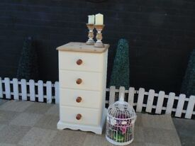 SOLID PINE FARMHOUSE TALL CHEST OF DRAWERS WITH DOVETAIL DRAWERS