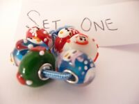 Trollbeads Christmas Set of 6 silver and Glass beads NEW.
