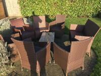 Garden/patio chair with cushions and coffee table