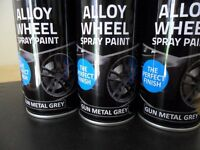 ALLOY WHEEL PAINT..GUN METAL GREY X 6 TINS.. PERFECT FOR WHEEL RESTORATION