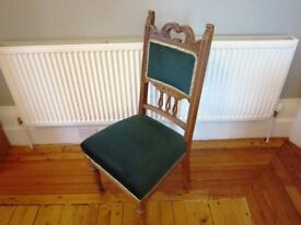 Late Victorian walnut dining-room or bedroom chair. Green upholstery in excellent condition