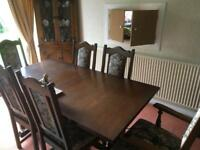 Old charm dining table and 6 chairs...