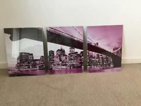 Framed Skyline pictures x3