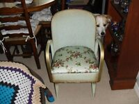 VINTAGE LLOYD LOOM? MINT / GREEN & GOLD COMMODE CHAIR, ORIGINAL UNRESTORED CONDITION