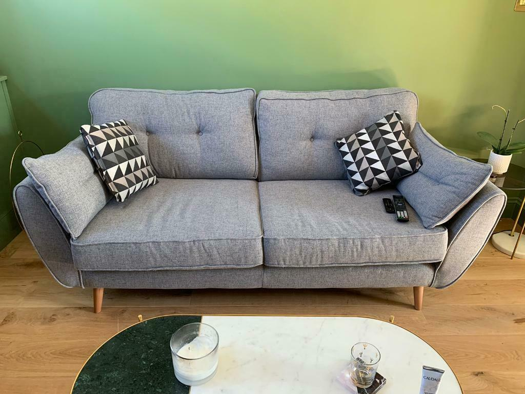 French Connection Dfs 3 Seater Zinc