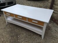 Wooden cream coffee table with 3 drawers