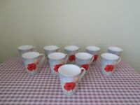 Poppy floral mugs (Set of 10)