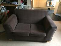 Chocolate brown sweetheart 2 seater small sofa