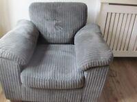 Comfy Armchair grey velour
