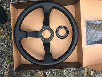 Driftworks 350mm leather steering wheel