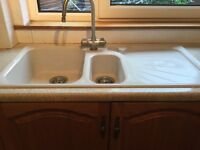 Ivory coloured Franke kitchen sink and tap