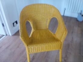 Wicker chair mustard colour