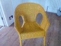 Wicker chair mustard colour