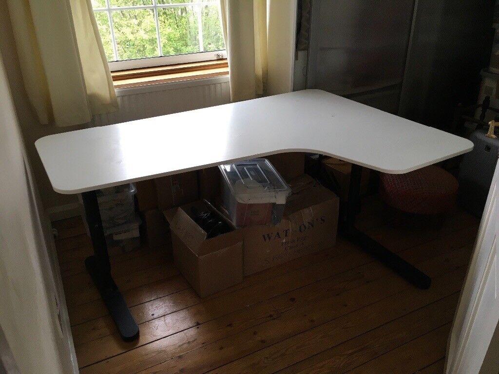 Ikea Bekant Corner Desk Right White Top Black Legs In Lewisham