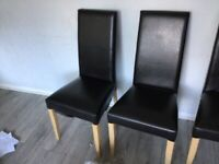4 leather dining chairs good condition only £20