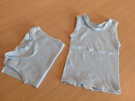 Singlet - No sleeve or domes - Blue x 2 - Newborn
