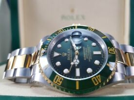 New boxed with papers Two tone bracelet green dial green ceramic bezel Rolex Submariner watch Auto
