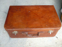 Vintage leather suitcase with pale blue interior - good condition