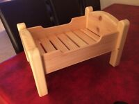 Dolls Handmade Crafted Wooden Bed, New.