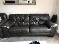 Large 3 Seater Brown Leather Sofa
