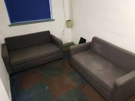 2x Ikea Sofa Bed Two Seats Grey £10.00