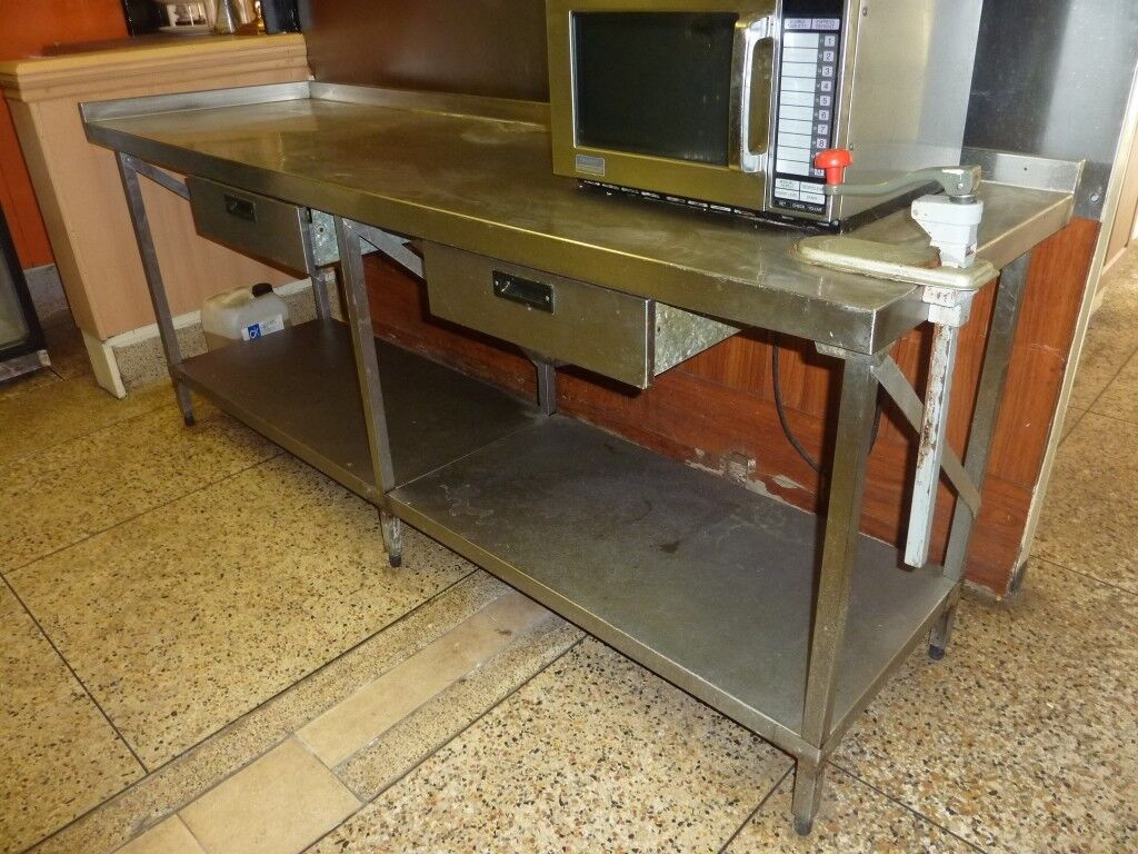 Commercial Kitchen Work Tables 2 Drawers Stainless Steel