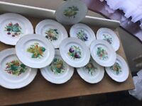 12 plates and two cake stands, beautiful design, gold edged, very old but in very good condition.