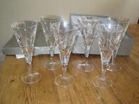 6 Royal Doulton Lunar fine lead crystal wine glasses. 20.5cm tall. Boxed.