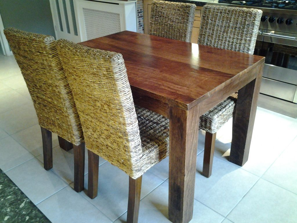 next dakota solid mango wood table and four next kobe rattan