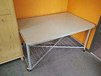 Spacious, Modern Metal and Frosted Glass Wheeled Office Desk / Kitchen Island / Work / Display Table