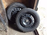 WINTER TYRES and wheels x 2 suitable for Toyota Aygo or similar vehicle