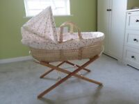 Moses basket, stand & fitted sheets
