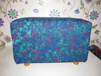 LARGE POUFFE, STOOL OR TABLE, DENIM AND FLORAL FABRIC