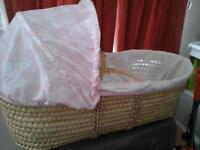 pink argos moses basket