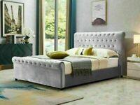 🔵💖🔴STYLISH & COMFORT🔵💖🔴FULLY PLUSH VELVET CHESTERFIELD SLEIGH KING SIZE BED FRAME & MATTRESS