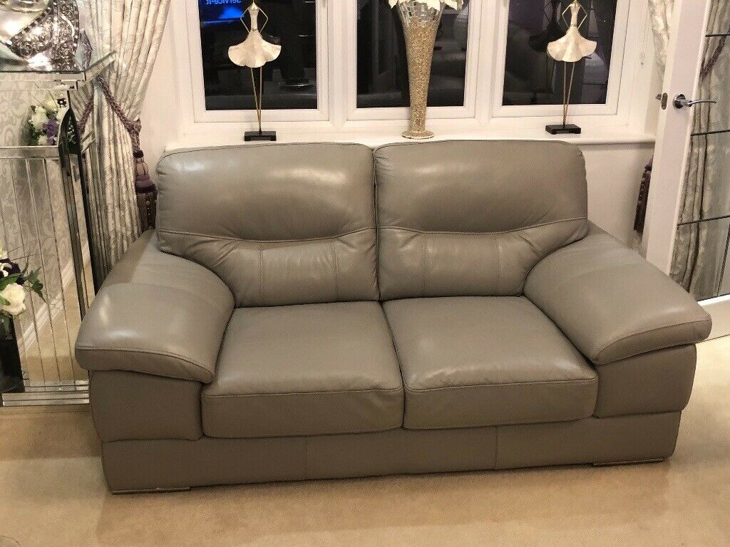 Like New Light Grey Three And Two Seater Leather Sofa In Uddingston Glasgow Gumtree