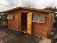 15FT X10 FT APEX HEAVY DUTY GARDEN STORAGE SHED 8 OPENING WINDOWS FULLY ASSEMBLED & TREATED