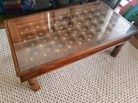 Wooden studded coffee table