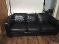 2 brown leather sofas 2+3 seaters