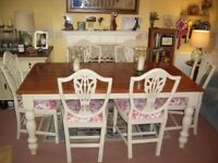 FARMHOUSE TABLE AND 6 SHIELD BACK CHAIRS 6ft x 3ft 3 inches