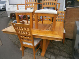 PINE EXTENDING DINING TABLE WITH 6 CHAIRS